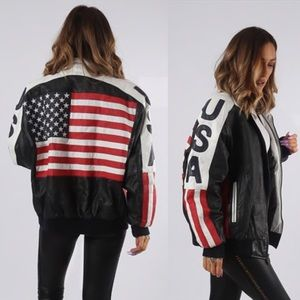 Vintage Leather USA Flag Bomber Jacket